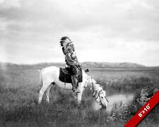 NATIVE AMERICAN INDIAN ON HORSEBACK DRINKING PHOTO ART REAL CANVAS PRINT