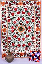 Indian Suzani Hand Embroidered Wall Tapestry Wall Hanging Throw Bedspread Decor
