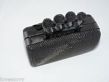BNWT clutch bag with knuckle rings evening party bridal prom dark nickel (grey)
