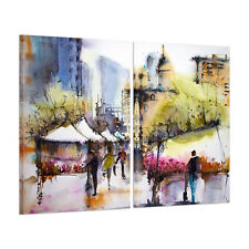 HD Canvas Print With Frame Canvas Picture Wall Art Painting Watercolor Street