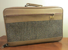 Skyway Vintage Suitcase Tweed and Leather Brown Tan Overnight Bag