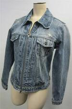 womens SILVER JEANS DISTRESSED BLUE DENIM JACKET ZIP coat MEDIUM TRUCKER CLEAN