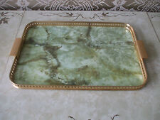 "Vintage Retro Gold Edged Serving Lap Tray Formica Faux Green Onyx Top 20"" x 14"""