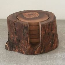 Set of 6 Wooden Coasters in Bark Pot, natural handcrafted olive wood, ø 3''