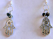 Hand of Tibet Dangle Earrings with Rainbow Moonstone Stone Beads by Slave Violet