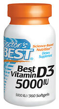 Best Vitamin D3 5000iu - D-3 - Doctor's Best - 360 Softgels