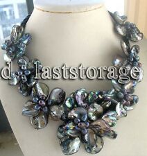 "freshwater pearl sea shell flower black 18.5"" necklace nature wholesale beads fa"