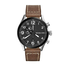Michael Kors Men's Chronograph Hanger Brown Leather Strap 45mm Watch MK7068