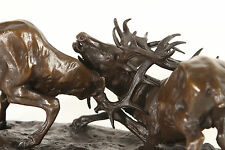 Bronze orniérage stags real genuine hot cast bronze sculpture.