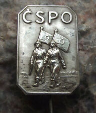 Antique CSPO Czech Fire Fighter Union Fireman Emergency Military Army Pin Badge