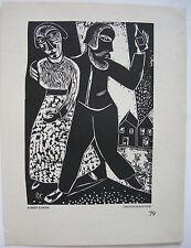 Robert Köpcke (1893-1968) Paar vor Häusern Orig. Holzschnitt 1919