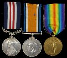 WW1 BRITISH MILITARY MEDAL GROUP & WAR & VICTORY MEDAL NORTH'D.FUS