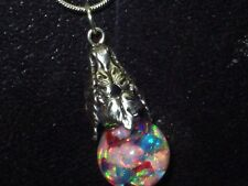 FLOATING MULTI  COLOR OPALS  SNOW GLOBE  PENDANT NECKLACE
