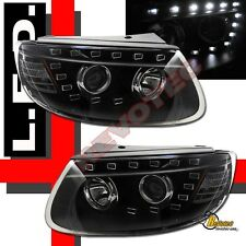 Black LED Strip R8 Style Projector Headlights For 08-12 Santa Fe SE GLS 1Pair