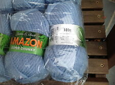 JAMES C BRETT AMAZON SUPER CHUNKY KNITTING WOOL BLUE 200G DYE J6 YARN 10MM PINS