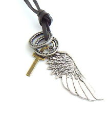 Mens Womens Angel Wing Cross Silver Adjustable Leather Pendant Charms Tribal