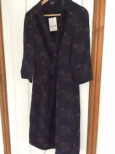 Hobbs navy silk shirt dress size 8 dog print, bnwt rrp £159