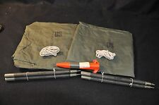 Unissued US Army Pup Tent: 2 OD Shelter Halves 10 Stakes 6 Pole Sections 2 Ropes