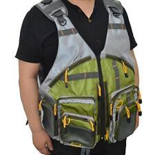 Fly Fishing Mesh Vest Olive Green Life Jacket Vest Kayak Canoe With Mutil-Pocket