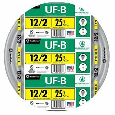 25' Roll 12-2 AWG UF-B Gauge Outdoor Electrical Feeder Copper Wire Gray 20 Amp