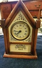 "Very Small Endura ""Glowing"" Working FRANCE Alarm Clock Steeple 7"" tall 4  1/2"" w"