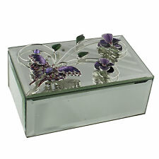 Sophia Glass Mirror Flowers & Butterfly Trinket Jewellery Jewel  Box 641TB