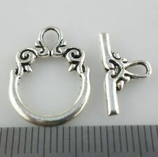 14Sets Antique Silver Clasps Interface Toggle Connectors for Jewelry Bracelet