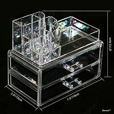 Clear Acrylic Jewelry Makeup Cosmetic Organizer Storage  - 2 Drawer Circular Top