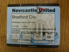 01/11/2000 Ticket: Newcastle United v Bradford City [Football League Cup] (folde