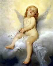 8x10 Perrault Print Baby Girl Cherub Angel Dreaming Sleeping on Cloud Pink Roses