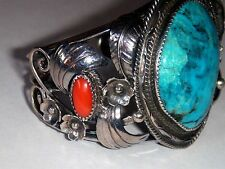~~ VINTAGE NAVAJO NATIVE AMERICAN TURQUOISE CORAL STERLING SILVER CUFF BRACLET