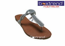 NEW WOMENS LADIES FLAT SANDAL SUMMER BRIDAL DRESS TOE BEACH WEDDING DIAMANTE