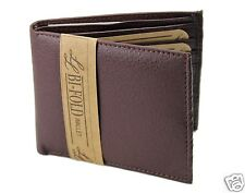 New Mens Bifold Soft Leather Wallet Pockets Card ID Brown Thin Billfold Classic