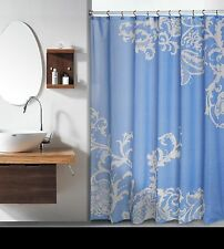 Isabella Light Blue Large White Floral Flower Fabric Shower Curtain Duck River