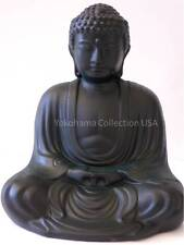 "Japanese 6"" Verdigris Buddha Statue Figures Earthenware/ Slot Bank /Japan"