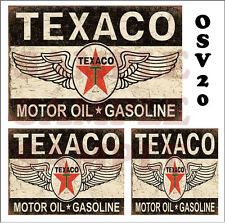 WEATHERED WATERSLIDE BUILDING SIGN DECALS TEXACO MOTOR OIL GAS O SCALE OSV20