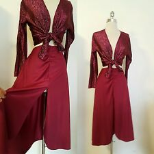 Vintage Disco Era Skirt & Tie Front Top Maroon 1970s Dance Outfit Size S