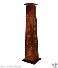 Wooden Sheesham Tower Agarbatti Incense Stick And Dhoop Bati Box Stand Holder