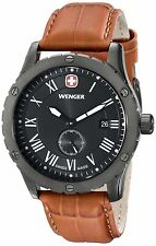 Wenger Men's 71000 Grenadier Stainless Steel Watch Brown Leather Band NEW