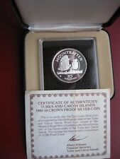 Turks & Caicos 1980 Silver Proof 10 Crown coin Lord Mountbatten cased with COA