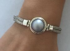 Starborn Creations Sterling Silver Mother Pearl Cable Wheat Toggle Bracelet SALE