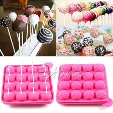 Silicone Chocolate Baking Tray Cake Candy Lollipop Pop mold Sticks Set Tool