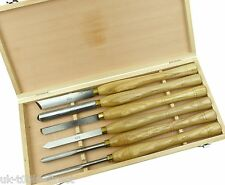 6pc HSS Wood Turning Chisels Lathe Set Beech Brass Handle Skew Round Spear Gouge