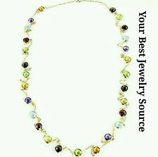 14K Yellow Gold Station Necklace With Fancy Cut 6 MM Gemstones By The Yard 36""