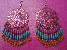 Pink Dream Catcher With Beaded Fringe Dangle Earrings