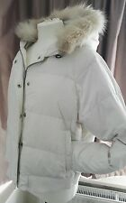 GORGEOUS DOWN PADDED JACKET FROM GAP XL IN CREAM WITH A REMOVABLE  FUR TRIM
