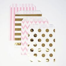 48 Polka Dot Chevron Pink and Gold Food Candy Treat Party Favor Bags 5x7 Gift