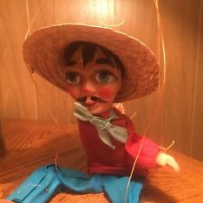 VINTAGE WOOD & PLASTIC 12 LONG STRING PUPPET MEXICAN MAN MARIONETTE DOLL
