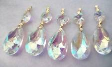 5 Iridescent 38mm Teardrop AB Asfour Chandelier Prisms Lead Crystal Suncatcher