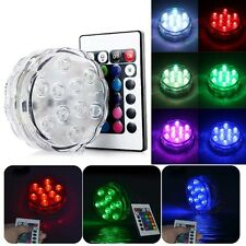 10 LED Waterproof RGB Colorful Wedding Party Vase Base Light Submersible+Remote